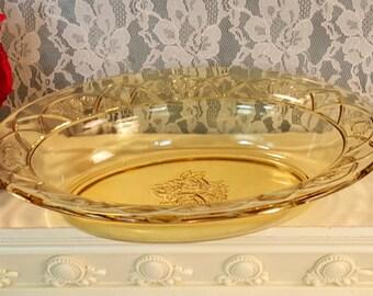 Rosemary Dutch Rose Amber Federal Glass Oval Vegetable Serving Bowl, Vintage 1930s Amber Depression Glass Dinnerware, Rose Pattern,