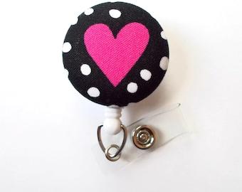Pink Heart Polka Dot Fabric Badge - Retractable ID Badge Holder - Valentine Badge Reel - Nurses Badge Holder - Cardiac Badge - Teacher ID