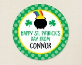 St. Patrick's Day Stickers - Pot of Gold & Shamrocks - Sheet of 12 or 24