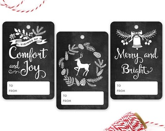 PRINTED Chalkboard Gift Tags {Black and White} - Set of 12
