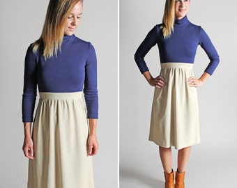 Vintage Studious Day Dress - Blue Tan White Turtleneck Long Sleeves Fall Casual Long Midi Colorblock Knit Woven - Size Small