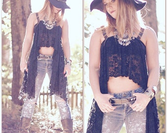 Music festival lace crop top, Young & famous Bohemian Mexicali beach blues, Boho clothes, Stevie Nicks style Gypsy, True rebel clothing