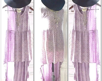 Purple prince tribute collection, Boho dress, Hippie chic dyed lilac sundress for summer, Coachella city trends 2016, True rebel clothing