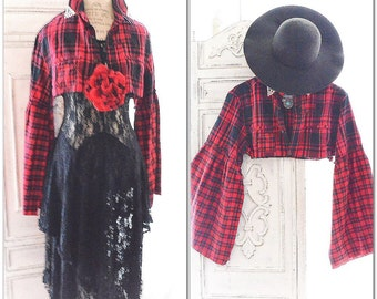 Red fall flannel, Fall festival crop top, Bohemian style fall clothing, Free people flannel crop top, boho clothing, True rebel clothing M