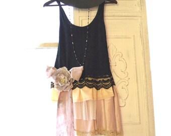 romantic gypsy cowgirl tunic shirt, Spring 2016 ruffle tank top, French shabby cottage chic, Boho clothing, Parisian, True rebel clothing