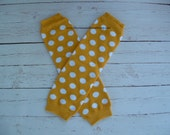 Yellow Gold With White Polka Dots Baby Leg Warmers