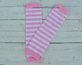 Baby Leg Warmers Pink and White Stripe Baby Girl Toddler