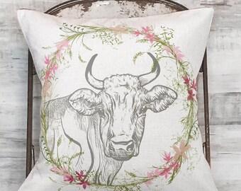 Farmhouse Decor Wildflower Cow Pillow Cover