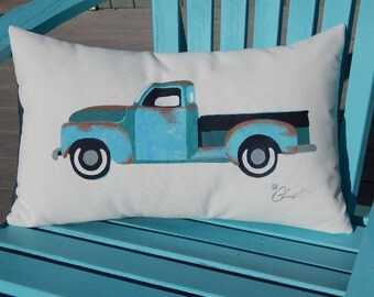 """RUSTY PICKUP truck pillow 12""""x20"""" hot rod classic car motorhead auto restoration all weather your color choice Crabby Chris™ Original"""