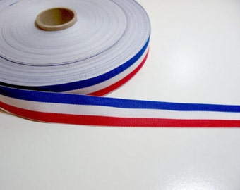 "3/4"" Red White and Blue Grosgrain Striped Ribbon July 4th Patriotic USA Independence Day American Bows Gift Wrapping Decorating DIY Crafts"