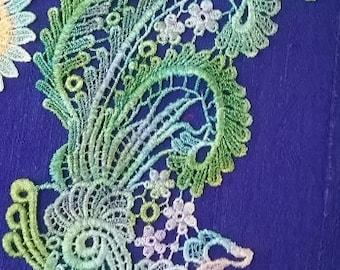 Aqua Turquoise Peacock, Hand Dyed Venise Lace, Bird Lace Applique, Peacock Lace Embellishment, Crazy Quilt Lace