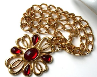 SALE Vintage NAPIER 1980s Bold Dramatic Red Necklace