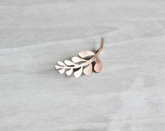 Rose Gold Modern Leaf Branch Brooch Pin, Rose Gold Filled Pin
