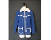 70s Royal Blue and White Nautical Jantzen Coverup Boating Shirt