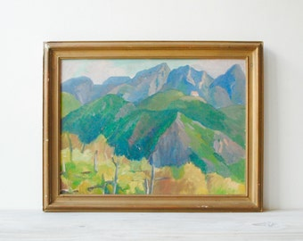 Vintage Landscape Painting, Framed Oil Painting of Mountains and a Vineyard / Original Hand Painted Art