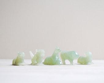 Vintage Nephrite Animal Figurines  / Jadeite Jadite Animal / Horse, Pig, Dragon, Dog, Tiger