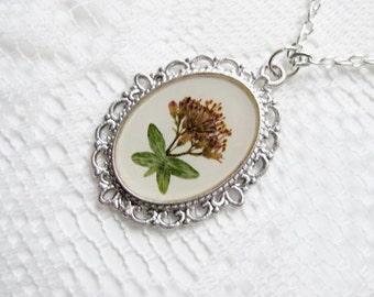 "Pressed Flower Necklace - Hand Made - 24"" -  Garden Botanical Natural"