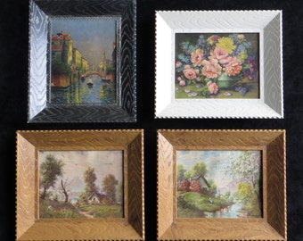 Vintage Framed Lithograph Prints in Small Kitsch Plastic Frames
