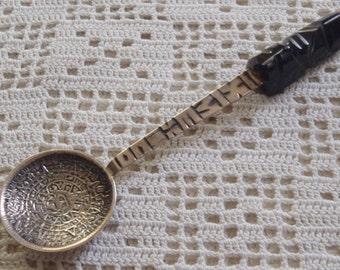 Vintage Souvenir Spoon Mexican Silver Carved Mask Aztec Mayan Calendar