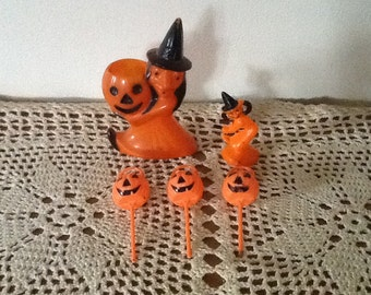 Rosbro Witch Candy Container & Pumpkins 1950's Retro Vintage Halloween Decorations Collectibles FREE SHIP