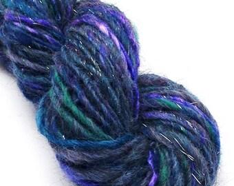 Handspun bulky alpaca and silk yarn with silver sparkles, hand dyed - 50 yards, 1.3 ounces/ 38 grams