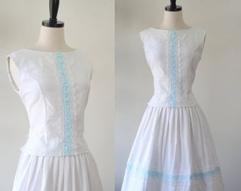 Vintage 1950s Dress SM 50s Dress White Cotton Dress 1950s Vintage Dress White Sleeveless Dress Womens Summer Dress Top and Skirt Small