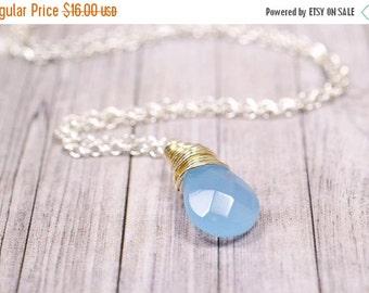 25% OFF SALE Serenity Blue Necklace, Serenity Jewelry, Twilight Blue Dusk Blue Necklace, Blue Opal, Cornflower, Denim Blue Opal Wire Wrap Je