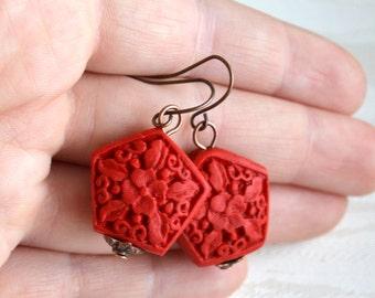 Red earrings Red cinnabar earrings Flower earrings Dangle Rustic earrings Red jewelry Boho earrings Bohemian jewelry Vintage style jewelry