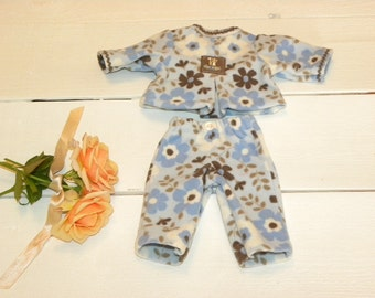 Blue Patterned Fleece Playsuit - 14 - 15 inch doll clothes