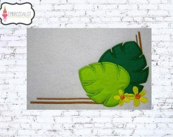 Tropical leaf applique. Fun summer embroidery, great corner accent. Corner embroidery, tropical applique, beach applique, summer applique.