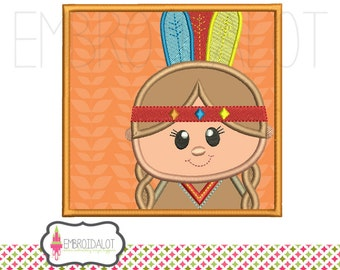 Thanksgiving applique embroidery design. Cute native American girl Indian thanksgiving embroidery design. Indian applique in frame.