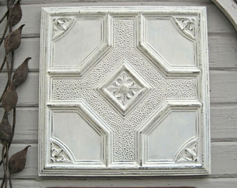 """Old tin ceiling tile. FRAMED 24""""x24"""" Antique Tin Ceiling Tile. Metal wall art. Architectural salvage. Pressed tin ceiling tile."""