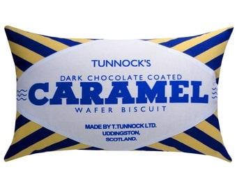 Tunnock's Dark Chocolate Caramel Wafer Printed Cushion