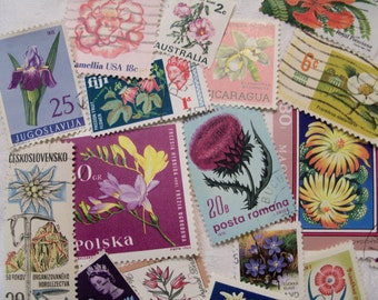 35 Flower Stamps, Flower postage stamps, Wedding Stamps, Floral,  Vintage Stamps, World wide stamps,