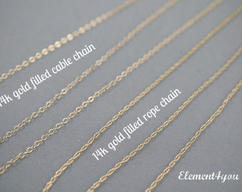 Upgrade to 14k gold filled chain - choice of cable or rope chain
