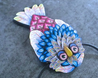 Woodland Pendant, Owl Pendant, Owl Focal Bead, Polymer Clay, Custom Jewelry, Handmade Necklace, Millefiori Pendant, Blue Pendant, Owl Art