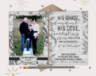 His Grace, His Love Christmas Cards - 1 picture - Black & grey classic style