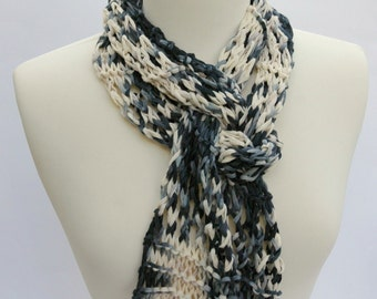 Cotton Scarf- Hand Knit/ Black, White, Gray
