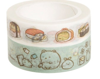 New-Sumikko Gurashi Masking Tapes-Green or Sushi at your choice for gift wrapping, party deco favor, scrapbooking, craft