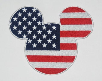 Disney Inspired Patriotic Mousehead, perfect for the 4th of July Disney trip or Disney cruise to go on shirts, skirts, or bags.