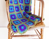 vintage granny square crochet afghan blanket in blue, purple, green