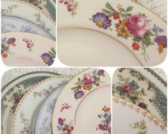 Set of 4 Vintage China Dessert Plates for Tea Parties, Bridal Luncheons, Showers, Mismatched Tea Set, Alice in Wonderland