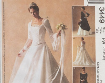 McCalls 3449 / Sewing Pattern Designed By Alicyn / Wedding Dress Bridal Gown / Bridesmaid Bride / Sizes 18 20 22