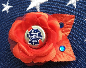 PBR PABST BLUE Ribbon Rockabilly Pin up Girl Red Hair Rose Flower