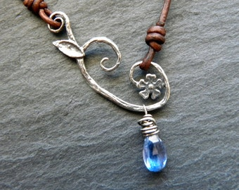 Sterling Silver Blue Kyanite and Leather Necklace Cherry Blossom