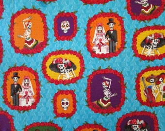 "Day of the Dead Cotton Fabric 18"" x 35"""