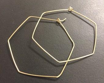 Hoop Earrings - Sterling Silver Hoop Earrings - 14k Gold Fill Hoop Earrings - Hexagon Hoop Earrings - Artisan Jewelry