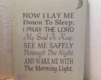 "Wooden Sign ""Now I Lay Me Down to Sleep.."" Hand Painted Nursery Decor Girls Room Decor"