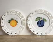 Milk Glass Plates Hand Painted Fruit Plum Orange Peach