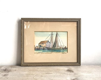 Vintage Watercolor Painting Fishing Boat Old Harbor Block Island, RI Artist Signed Peggy Allen